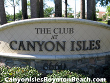 Sign welcoming you to the Canyon Isles recreation area - a great pace for the entire family to enjoy their free time with neighbors and friends.